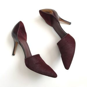 Vince Claire Calfhair Dorsey Pumps in Oxblood